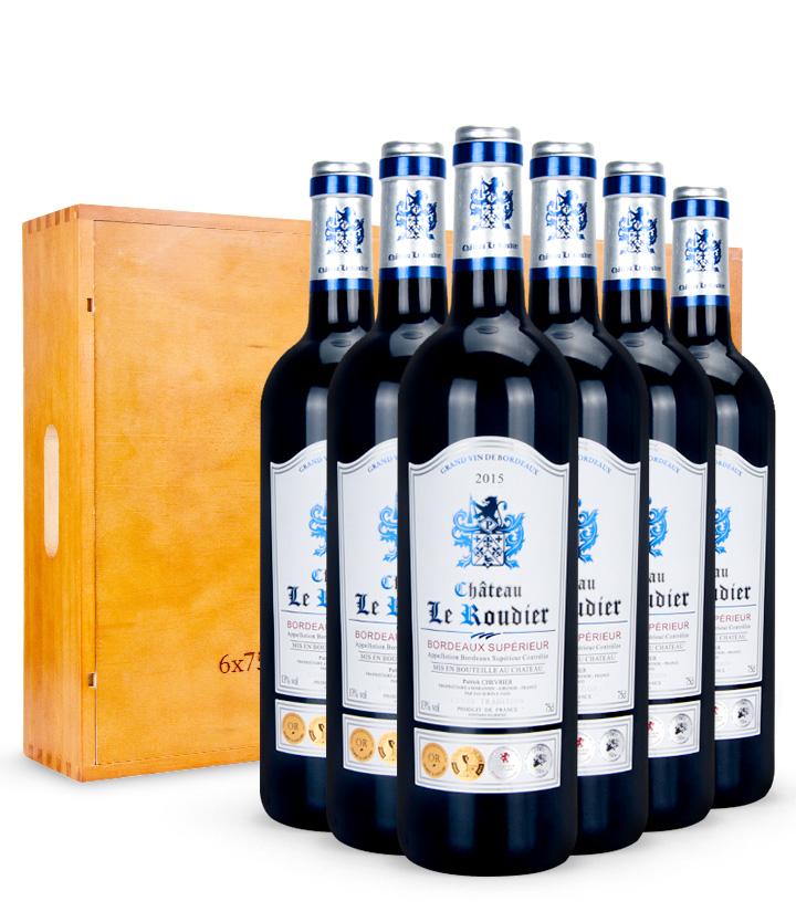 13°法国蓝帝城堡超级波尔多干红葡萄酒750ml*6 件