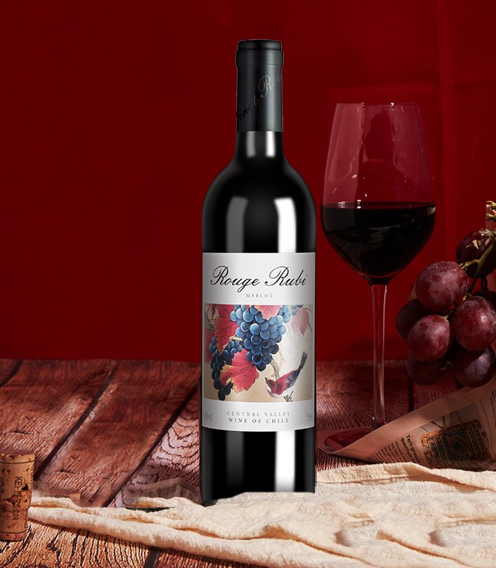 13°智利宝石红美露干红葡萄酒750ml 瓶