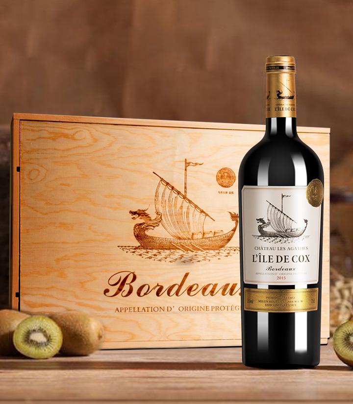 13°法国克斯湾岛干红葡萄酒750ml 瓶